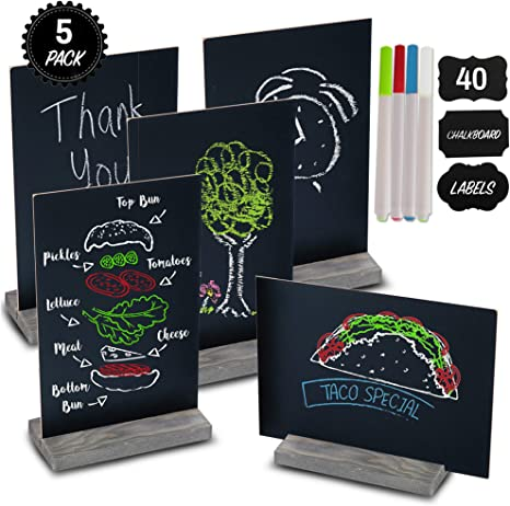 Mini Chalk Board Signs (Set of 5) With 4 Chalk Markers And 40 Chalkboard Labels - Two-Sided Chalkboard Sign for Wedding Table - Multisize 6x9