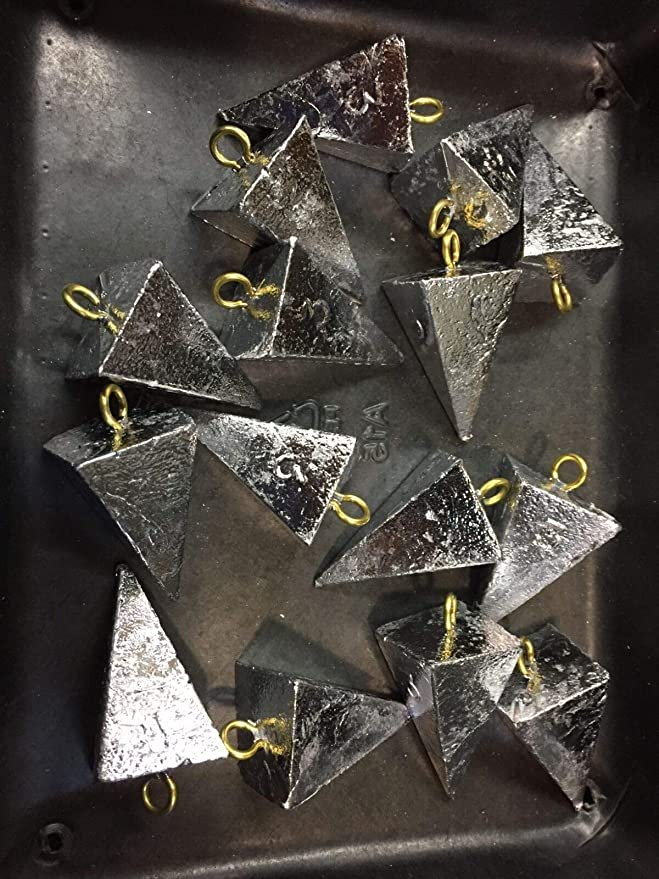Lead Pyramid Sinkers 25lbs 1-2-3-4-5-6-8-10 Oz Any Combination Of Sizes