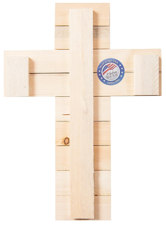 P GRAHAM DUNN Lords Prayer Three Cross Whitewash with Dark Wood 16 x 12 Wood Wall Art Plaque Cross CRO0128