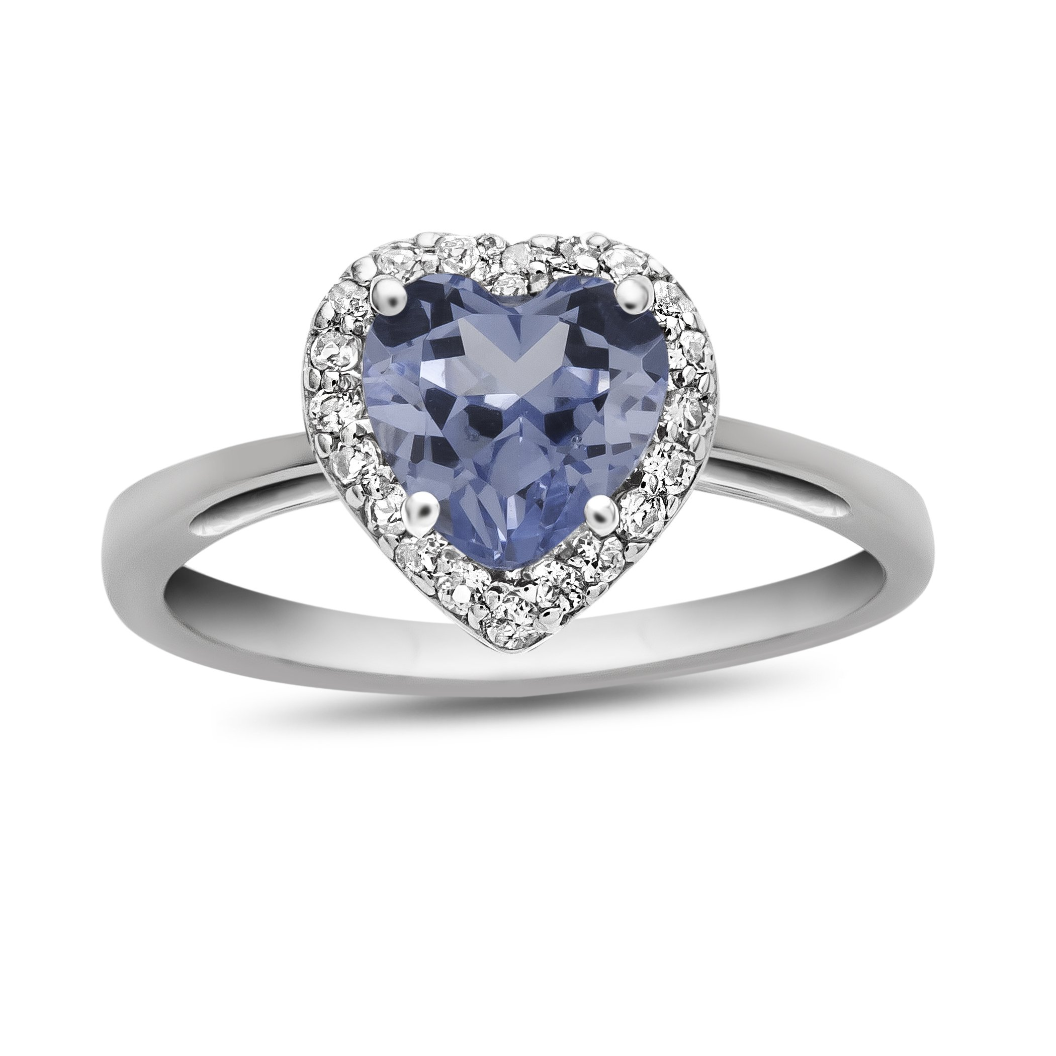10k White Gold 6mm Heart Shaped Simulated Aquamarine with White Topaz accent stones Halo Ring Size 8