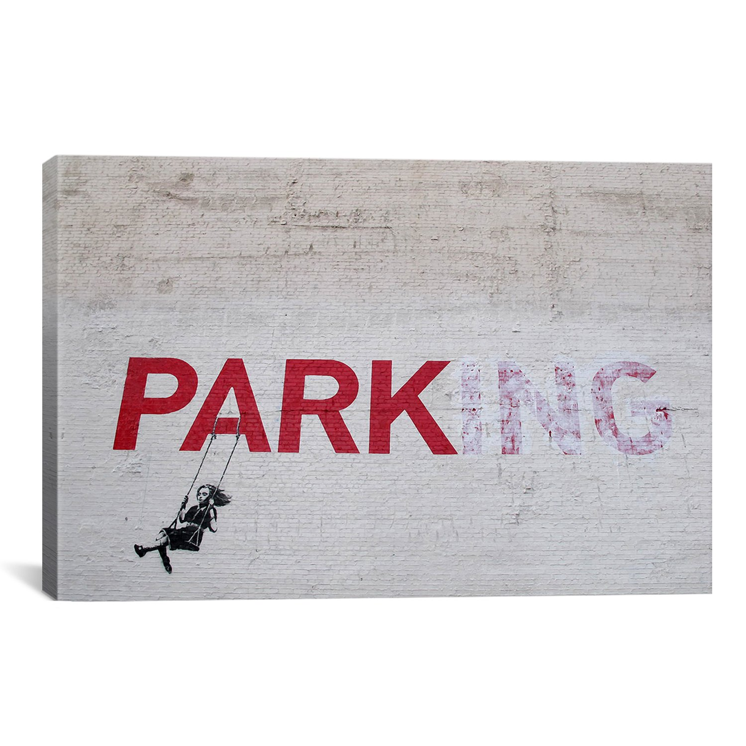 iCanvasART Banksy Parking Girl Swing by Banksy Canvas Art Print, 40 by 26-Inch