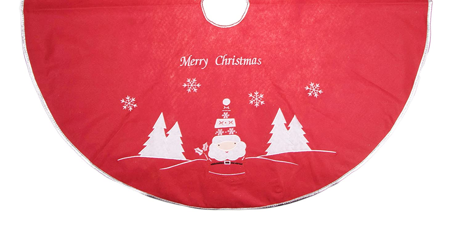 Red and White Christmas Tree Skirt with Santa - 40 Clever Creations No Model