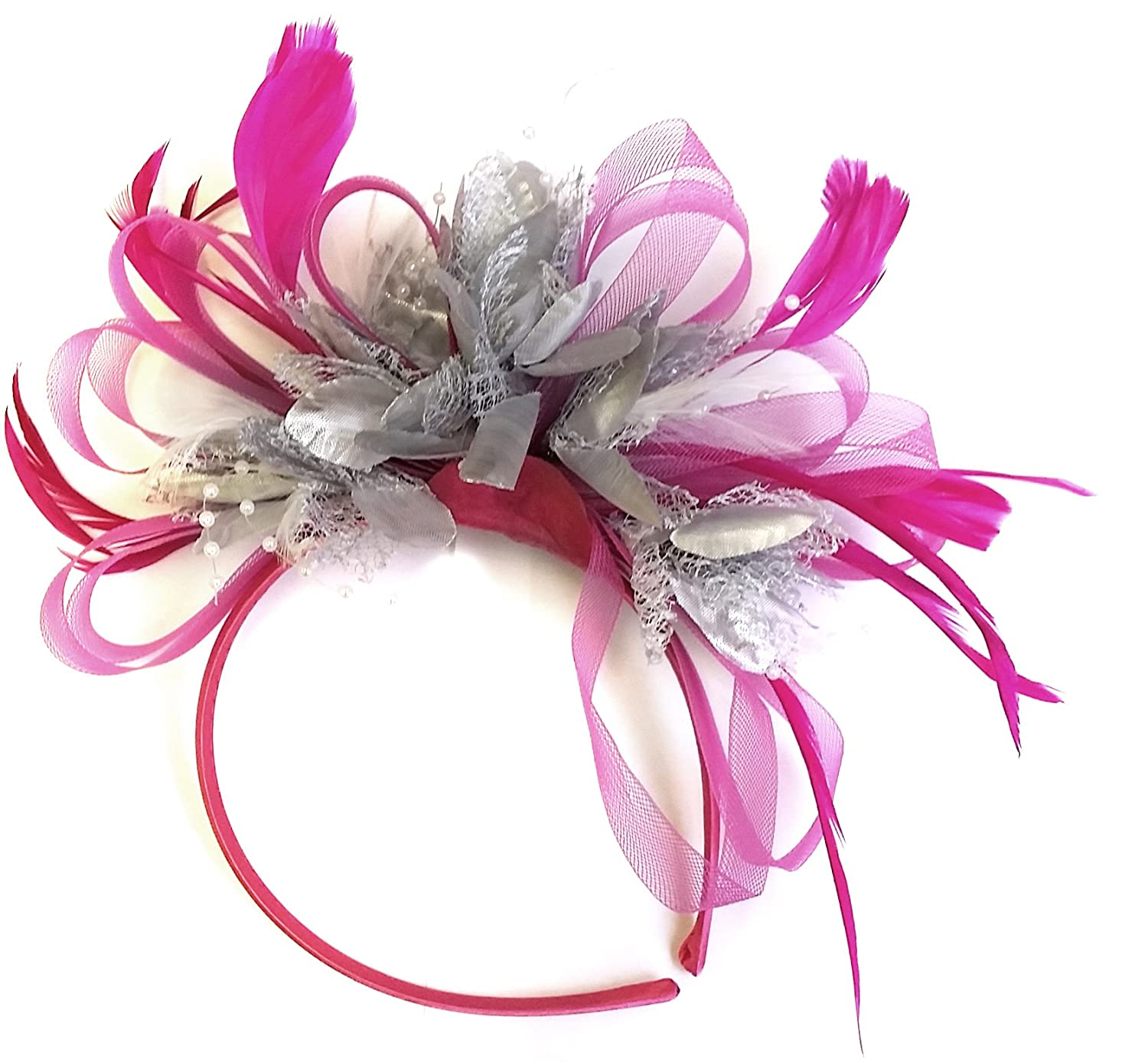 Fuchsia Hot Pink   Silver Fascinator Headband Wedding Derby Races Ladies at  Amazon Women s Clothing store  fcaad2deaac