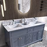 Natrual Stone Carra 4 CC Faucet Holes WOODBRIDGE 61 X 22 Vanity Mount Rectangle Bowls CAVT6122D-4 61x22 Double CARRAR WHITE NATURAL MARBLE TOP