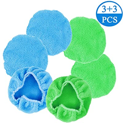 QzoneLife Car Care Replaced Microfiber Clothes 6pcs Washable Reusable Lint-Free Microfiber Pads for Windshield Cleaner Tool Cotton Terry Car Washing Pads-5.5X5.1inch,Blue and Green(Triangle): Automotive
