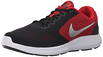 NIKE Men's Revolution 3 Running Shoe, University Red/Metallic Silver/Black,  7.5