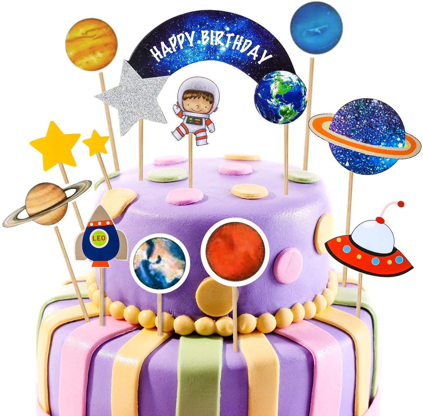 Awesome 45 Pieces Outer Space Cupcake Toppers Planet Party Supplies Funny Birthday Cards Online Alyptdamsfinfo