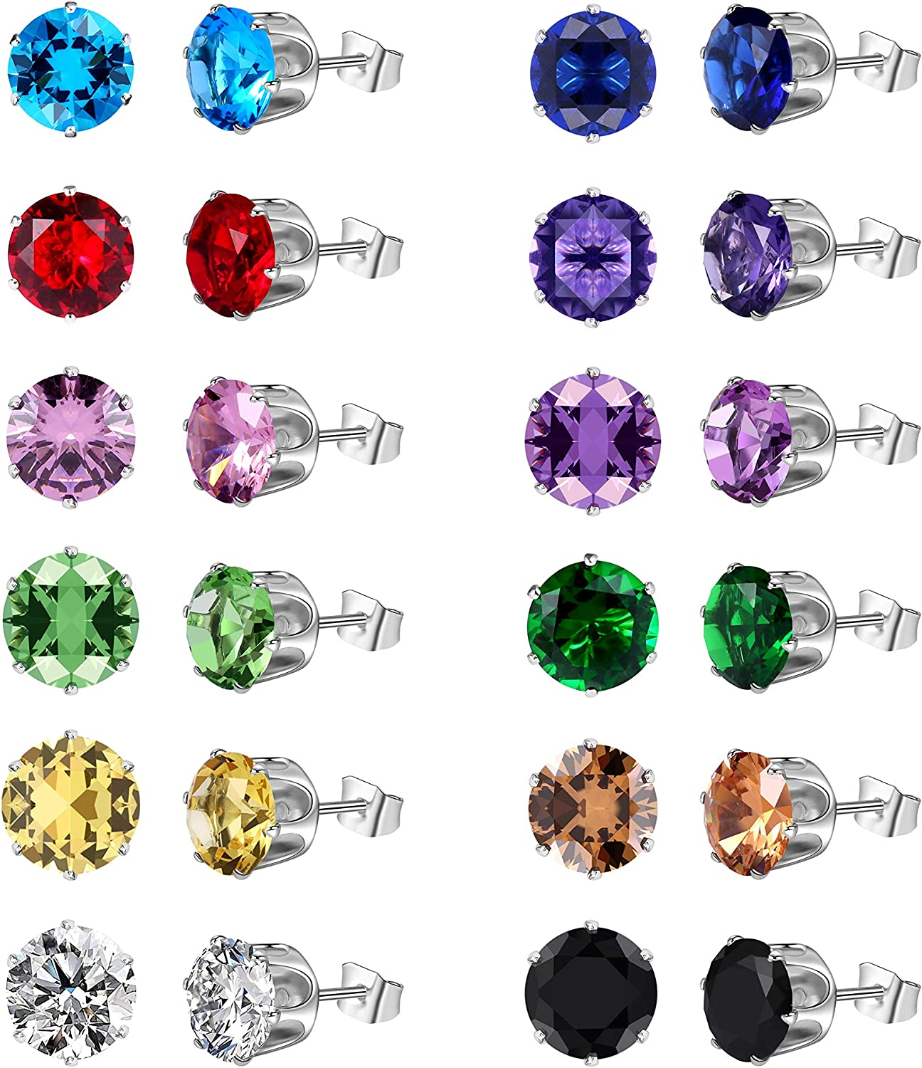 pair Stainless Steel Gold Color Plated Prong-Set Round Circle Stud Earrings with Topaz CZ
