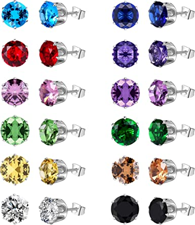 Color 12 Pairs of Round Zircon Stud Earrings Diamond Earrings Set Wild Earrings