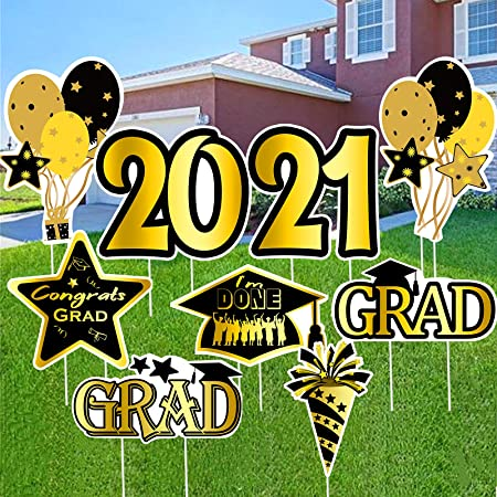 OuMuaMua Graduation Decorations 2021 Yard Sign Stakes, 9pcs Graduation Yard Decorations for Class of 2021 High School College Graduation Outdoor Decorations, Graduation Party Favors Supplies