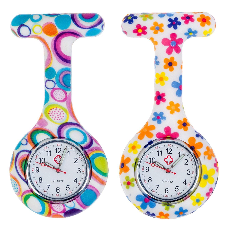 セットの2個ブローチ/ Fob /ポケットで看護師の時計感染制御シリコン衛生的Covers B01G8SQ2T0