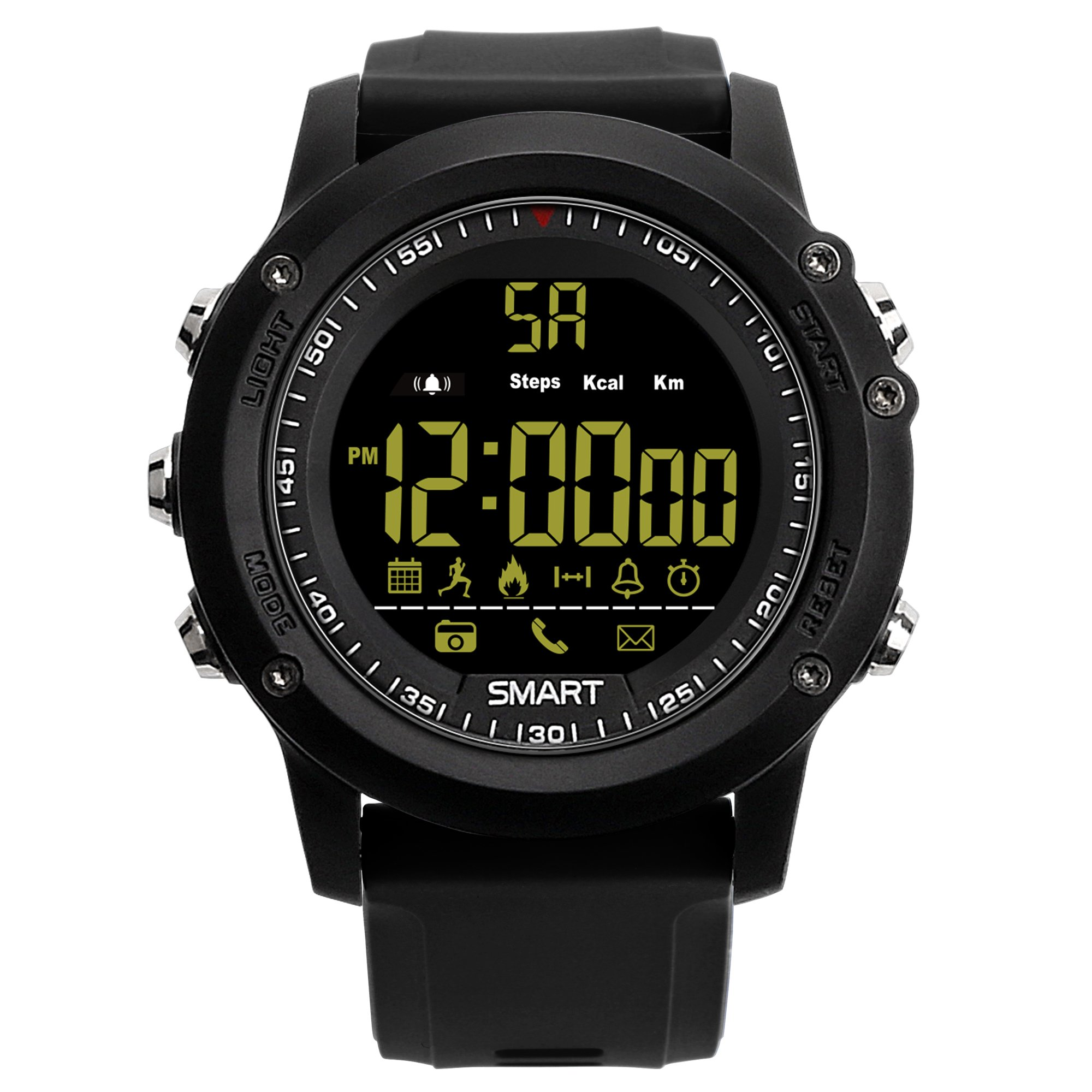 Smart Sports Watch Model EX26 Pedometer Fitness IP67 Waterproof and Shock Resistant Remote Camera Incoming Call or Message Alert for iPhone,Samsung, LG,ZTE,Huawei