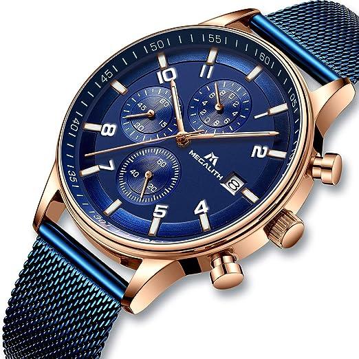 2e9479ac4cc8 Reloj Hombres Relojes de Pulsera Militar Deportivo Impermeable Cronógrafo  Luminosos Relojes de Acero Inoxidable Malla Lujo Calendario Analógico   Amazon.es  ...