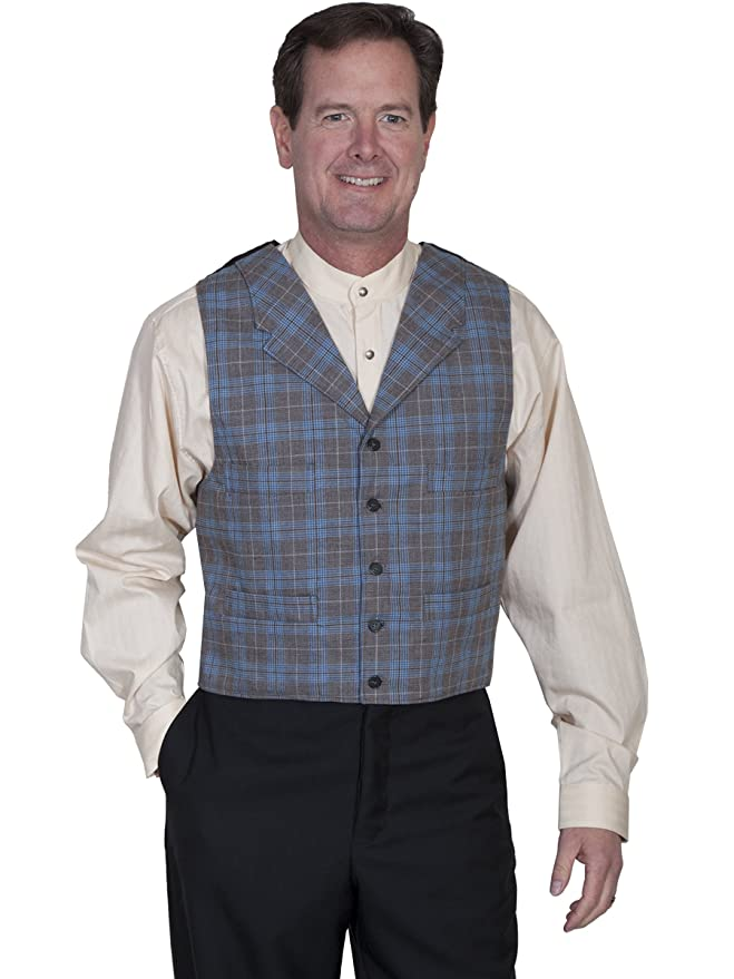 Men's Vintage Inspired Vests Scully 541484 Mens Plaid Vest $75.00 AT vintagedancer.com