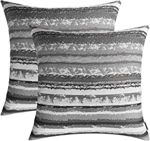 """ROMANDECO Set of 2, Stripe Pillow Case Jacquard Square Decorative Throw Cushion Cover Pillowcase with Invisible Zipper for Bed 18"""" x 18"""" (Grey)"""