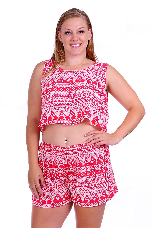 Simply Ravishing Women's Plus Size Crop top and Short Pants Clothing Set ABR1004