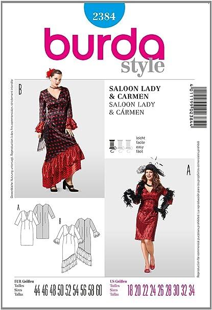 the best attitude 77860 d6773 Burda B2384 - Cartamodello per Realizzare Vestito da Donna ...