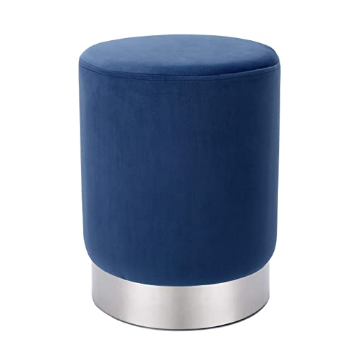 BIRDROCK HOME Round Navy Velvet Ottoman Foot Stool Soft Compact Padded Stool – Great for The Living Room, Bedroom and Kids Room – Small Furniture Navy