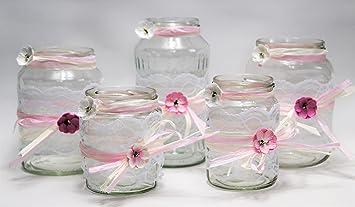 5 Windlichter Vasen Hochzeit Tischdeko Herz Spitze Vintage Taufe Jute Kerzenhalter Td0071
