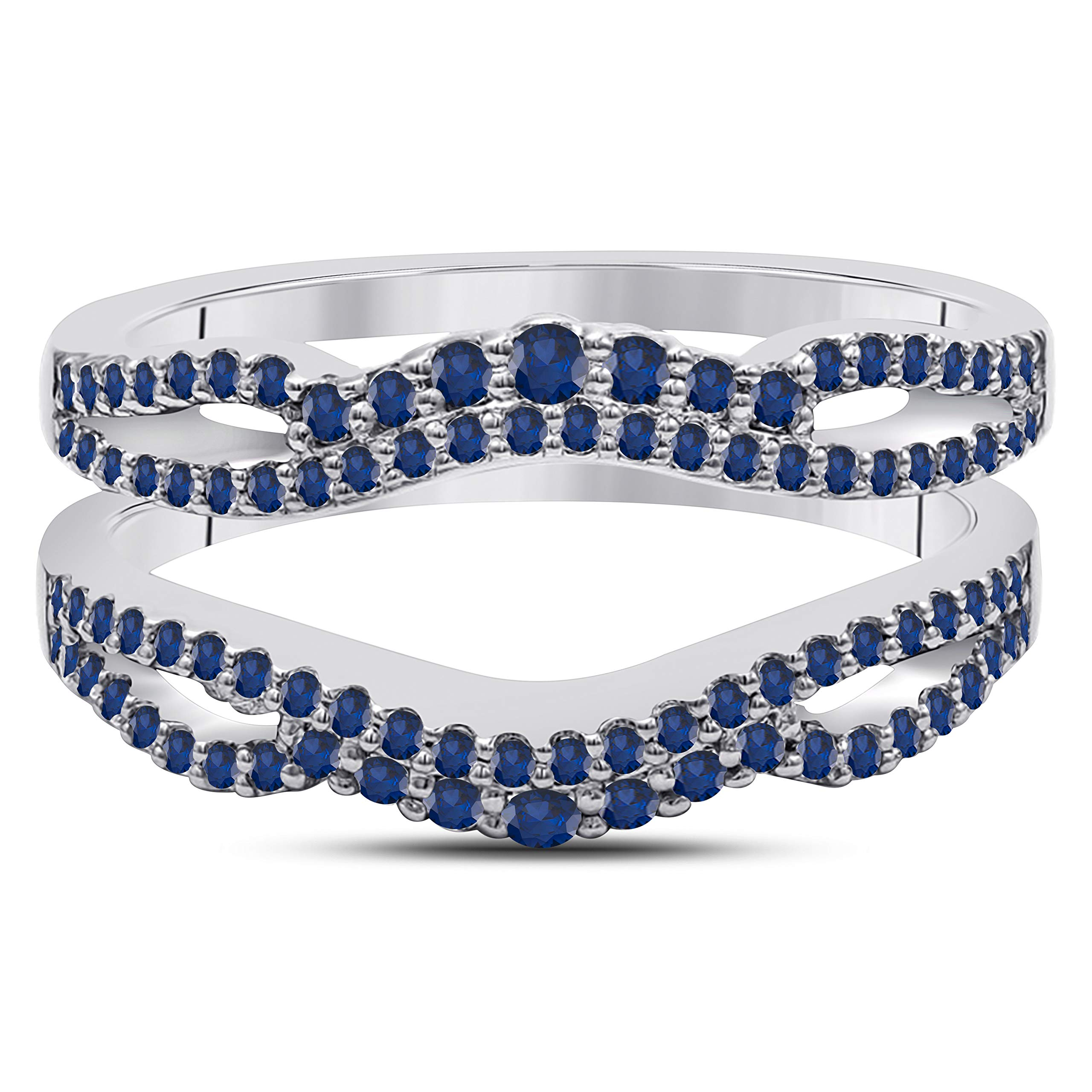 DreamJewels 14k White Gold Plated Alloy Double Infinity Engagement Wedding Enhancer Ring Guard with CZ Blue Sapphire (0.50 ct. tw.)