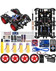 UNIROI Smart Robot Car Kit Arduino Robot Kit with 4 Wheel Drive, Arduino UNO R3 Board, Ultrasonic Sensor, Infrared Tracking Module (No Welding Required)