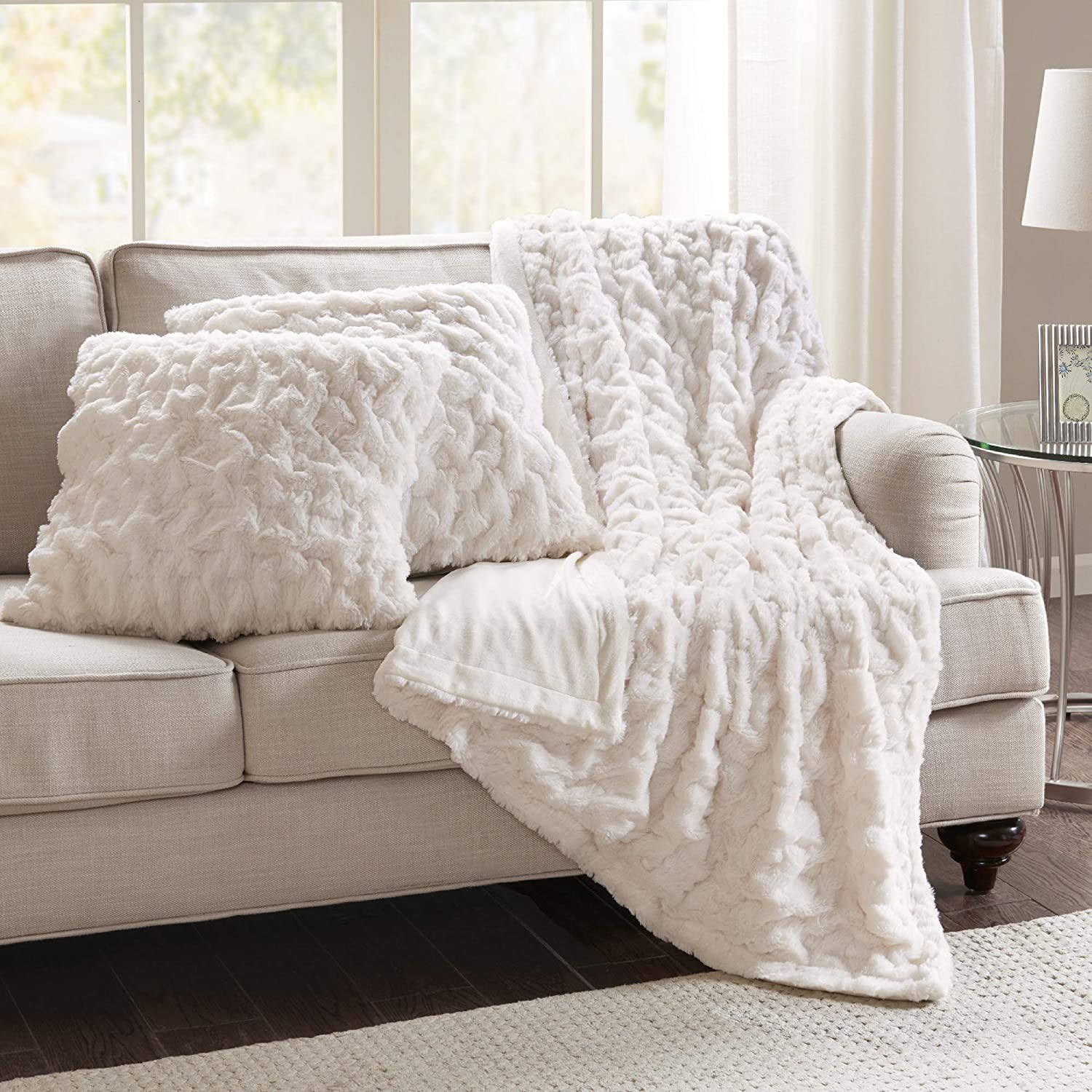 Pillow And Throw Set.Comfort Spaces Ruched Faux Fur Plush 3 Piece Throw Blanket Set Ultra Soft Fluffy With 2 Square Pillow Covers 50 X60 Ivory