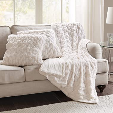 Comfort Spaces Ruched Faux Fur Plush 3 Piece Throw Blanket Set Ultra Soft Fluffy with with 2 Square Pillow Covers, 50 x60 , Ivory