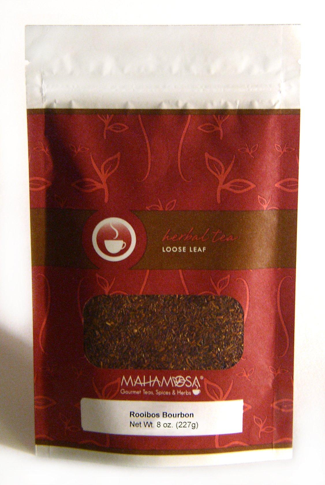 Mahamosa Rooibos Herbal Tea and Tea Infuser Set: 8 oz Rooibos Bourbon Rooibos (Red Bush) Tea, 1 Stainless Steel Tea Ball Infuser (Bundle- 2 items)(Tea ingredients: Rooibos and vanilla flavor)