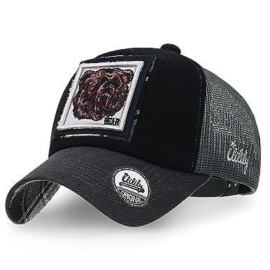 fc1461e6748 ililily Wolf Deer Animal Square Patch Casual Mesh Baseball Cap Trucker Hat  (Medium