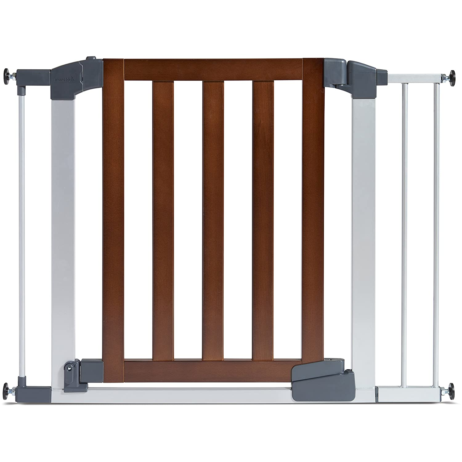 Munchkin Auto Close Modern Baby Gate, Dark Wood/Silver Metal, Model MK0094-011 46764