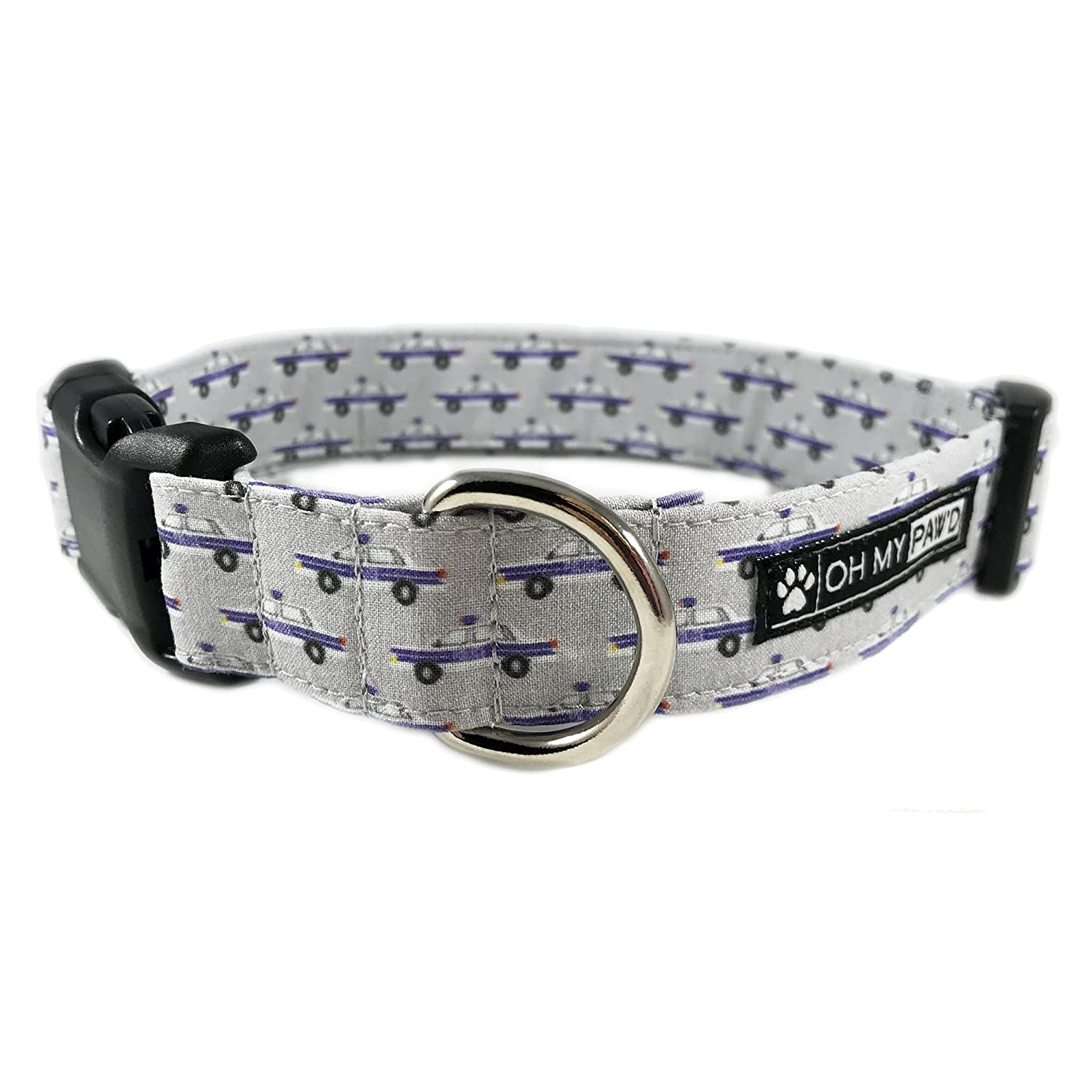 Police Car Print Dog or Cat Collar for Pets Size Small 3/4
