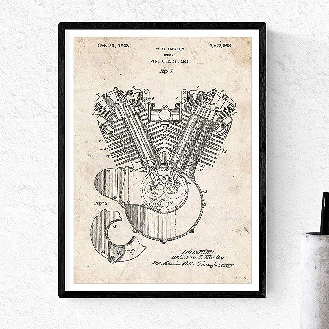 Nacnic Poster de Patente de Motor Moto Harley. Lámina para ...