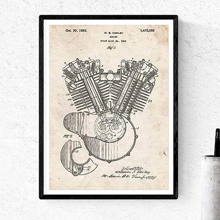 Nacnic Poster de Patente de Motor Moto Harley. Lámina para enmarcar. Poster con diseños, Patentes, Planos de inventos Famosos. Decoracion de hogar: Amazon.es: Hogar