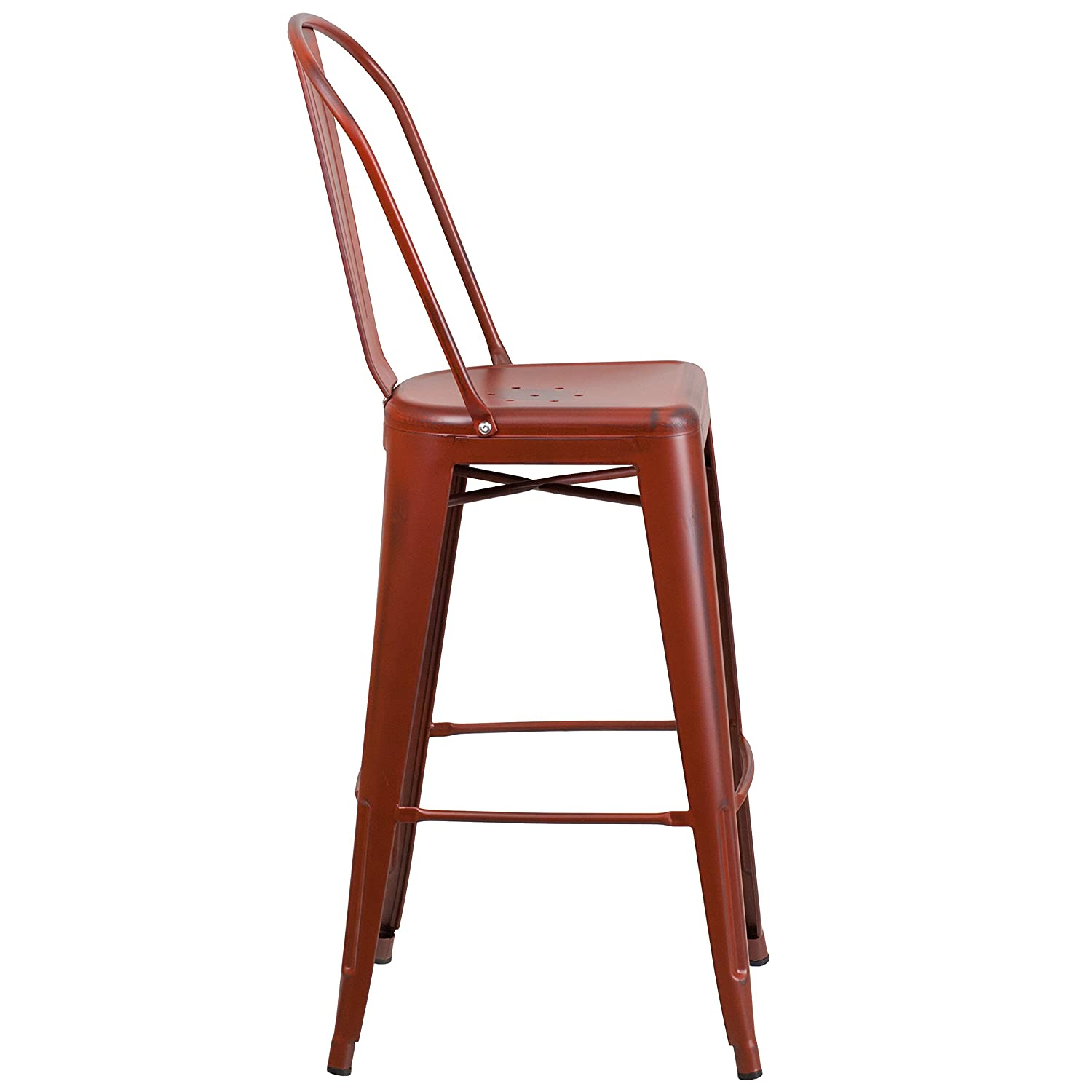 Flash Furniture 30 High Distressed Kelly Red Metal Indoor-Outdoor Barstool with Back