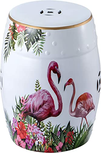 Ceramic Side Table Garden Stool Outdoor White End Table Porcelain Ceramic Drum-Shaped Small Round Table Patio Decorative Stool Elegantly Textured Flamingo Pattern Display Stand Footrest