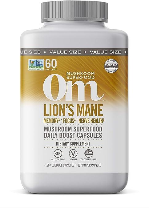 Om Lions Mane Mushroom Capsules, Memory Support, Focus, Clarity & Nerve Health, Mushroom Supplement, 2000mg dose, 180 Count (60 Day Supply), Vegan