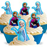 Cakeshop 12 x PRE-CUT Disney Queen Elsa and Anna Stand Up Edible Cake Toppers