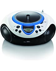 Lenco SCD-38 USB BLUE - Radio FM portátil (MP3, WMA, USB, 3.5 mm, pantalla LED, 2 W), azul