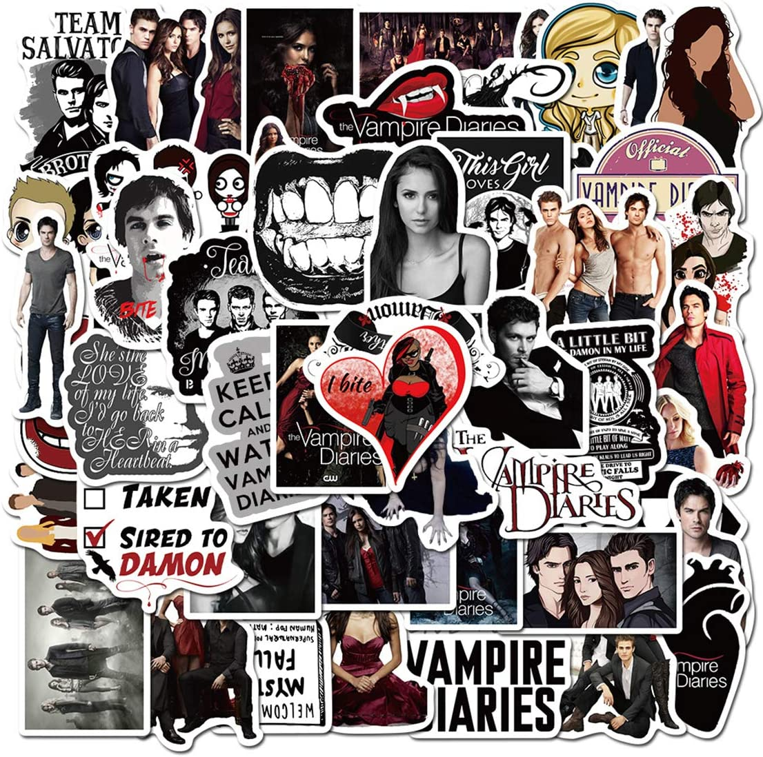ARPA 50Pcs The Vampire Diaries Stickers for Laptops Books Cars Motorcycles Skateboards Bicycles Suitcases Skis Luggage Cup Hydro Flasks etc DJHSL