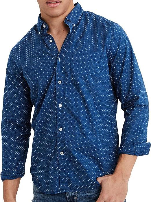American Eagle - Camiseta de Manga Larga para Hombre, Color Azul ...
