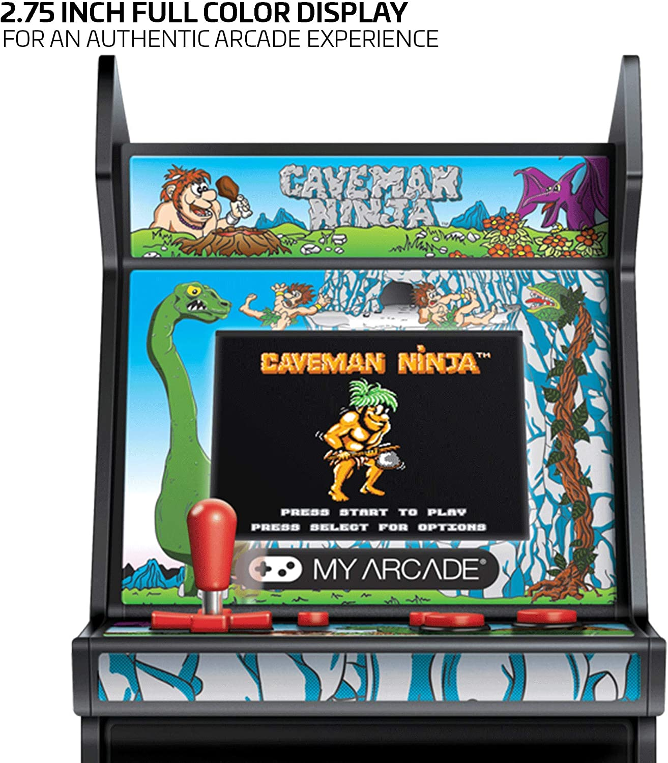 My Arcade Micro Player Mini Arcade Machine: Caveman Ninja Video Game, Fully Playable, 6.75 Inch Collectible, Color Display, Speaker, Volume Buttons, ...
