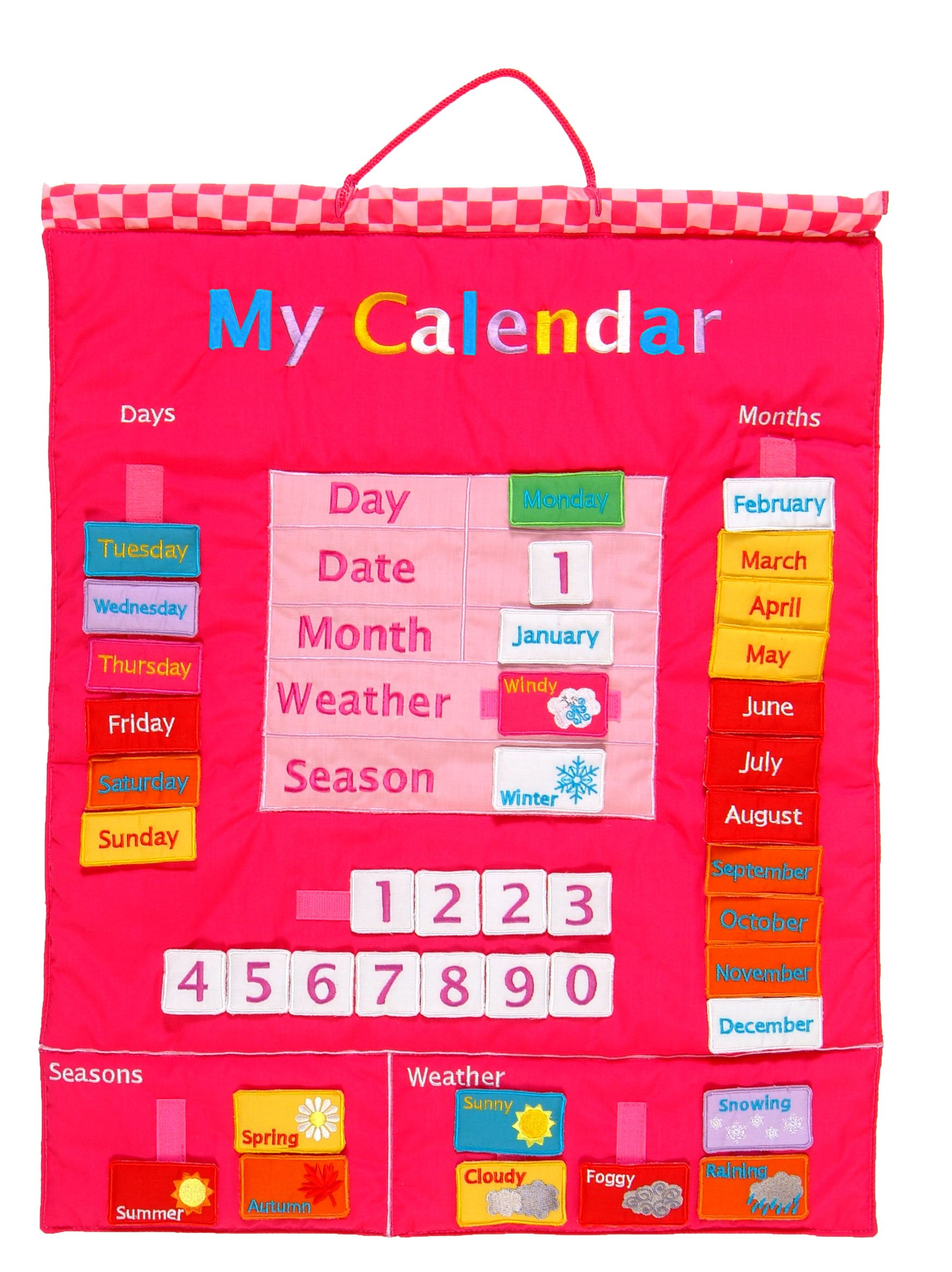 My Calendar Fabric Wall Hanging - Pink