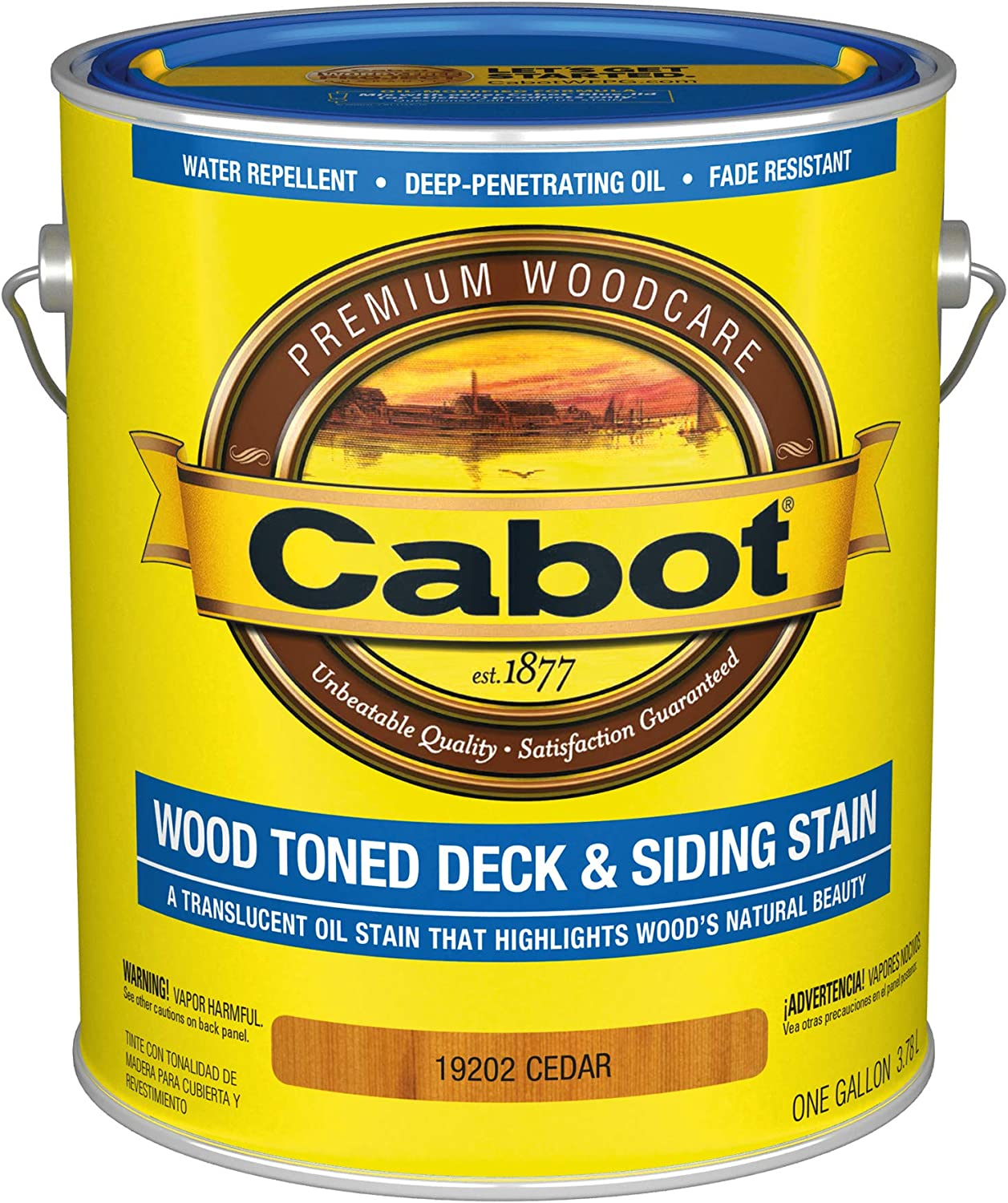 Cabot 140.0019202.007 Wood Toned Deck & Siding Low VOC Exterior Stain, Gallon, Cedar