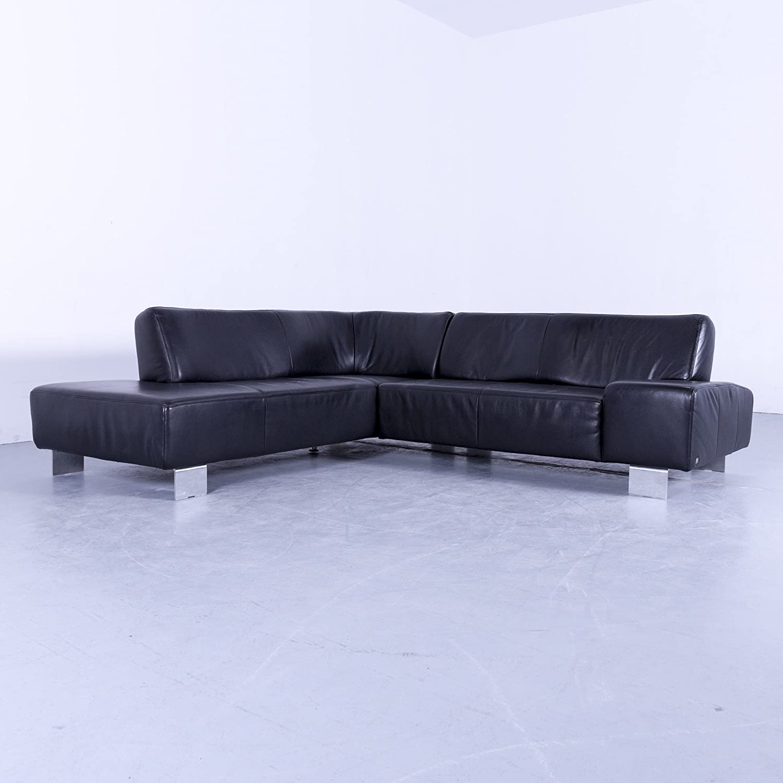 Patrón anillo Designer Wohnen-Luxus - Sofá Negro Piel Sofá ...