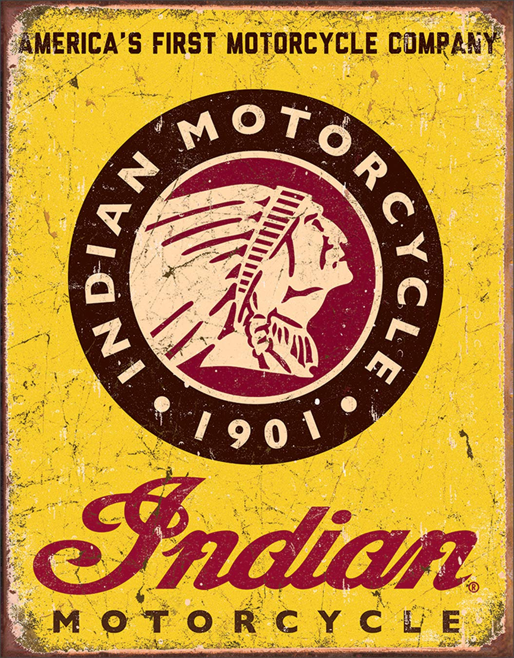 "Desperate Enterprises Indian Motorcycle Since 1901 Tin Sign, 12.5"" W x 16"" H"