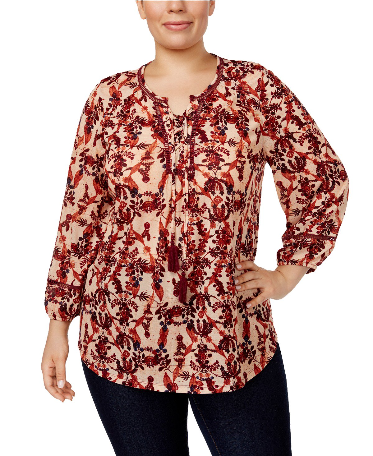 Style & Co. Plus Size Printed Lace-up Peasant Top (3X)
