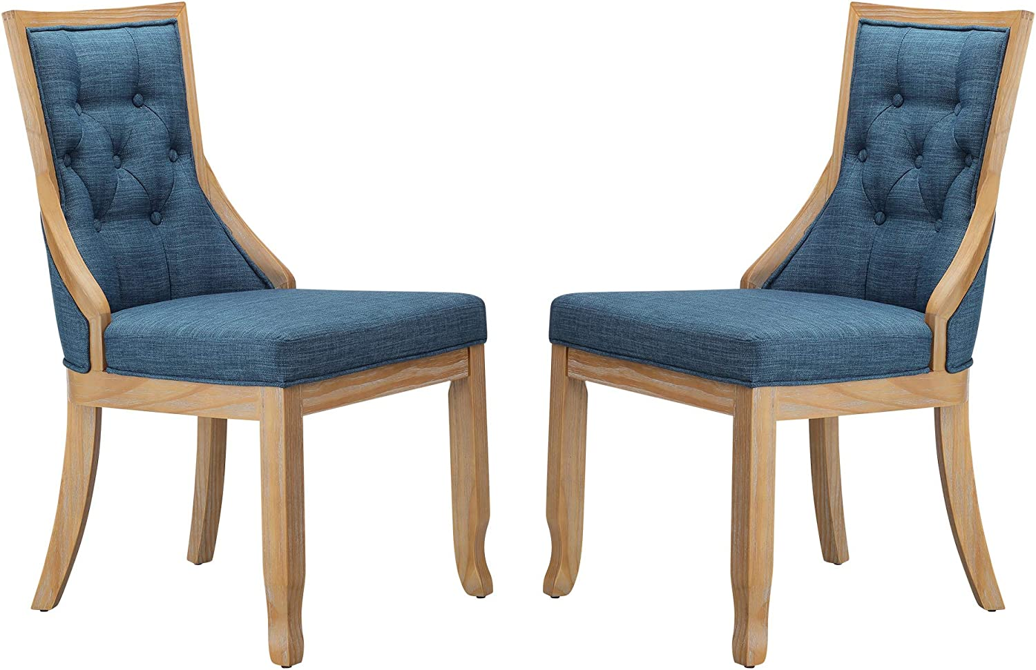 "Stone & Beam Vintage Armless Dining Chair, 19""H, Navy, Set of 2"