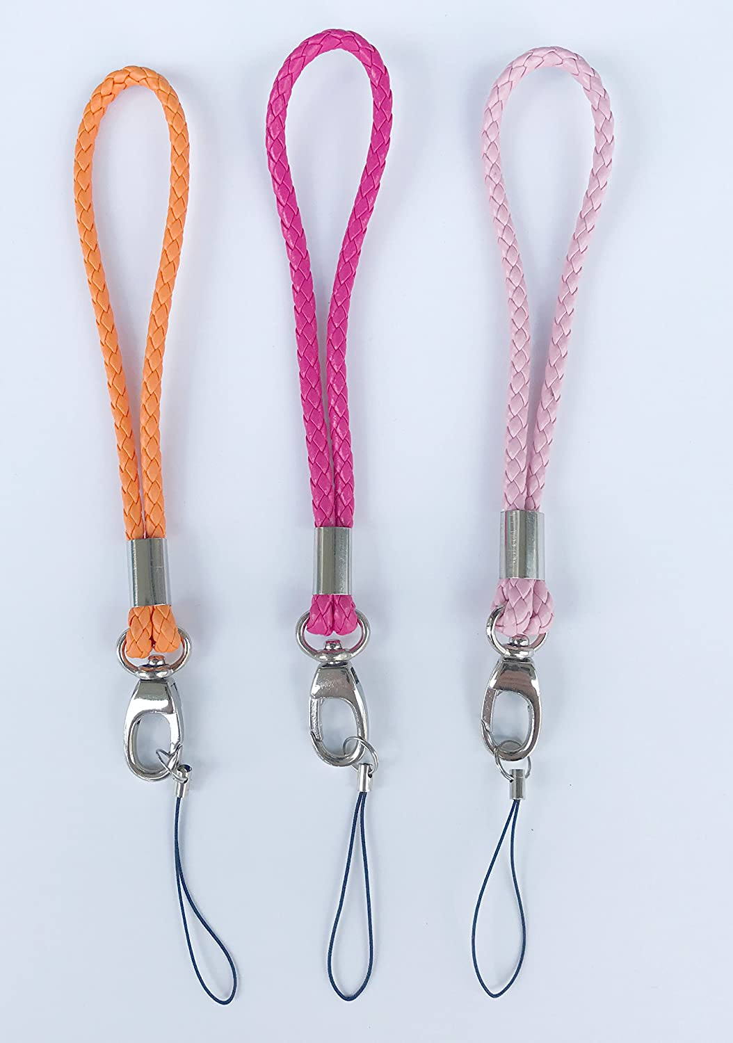 Leather Wrist Lanyard with J-Hook for Camera /& Cell Phone /& Purse/& keychain-Straps Around Your Wrist-Assorted Different Color ORANGE//RED ROSE//PINK 3Pack Fashion PU Braided Hand Wrist Strap