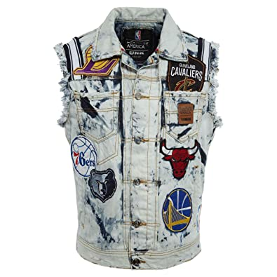 Heritage America NBA Team Patches Jean Jacket Mens Style  GVM4576S-BLUE  Size  XXL 53f713a3d