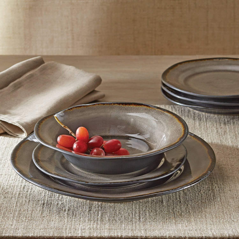 Amazon.com | Dinnerware Set Bramley Gray, 12-pcs: Dinnerware Sets